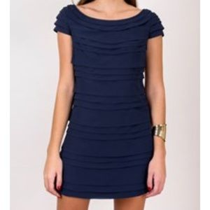 FRENCH CONNECTION blue mini ruffle dress,4!!NEW